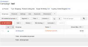 Adwords Test Shopping Campaign