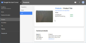 Google Merchant Product Technical Details