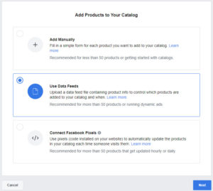 Facebook Add Products Use Data Feeds