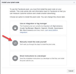 Facebook Install your pixel code