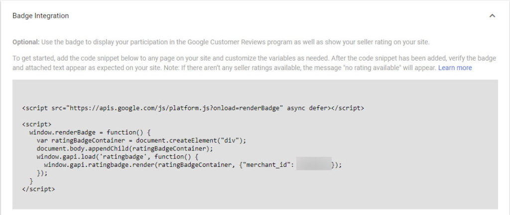 Google Merchant Center Copy Badge Integration