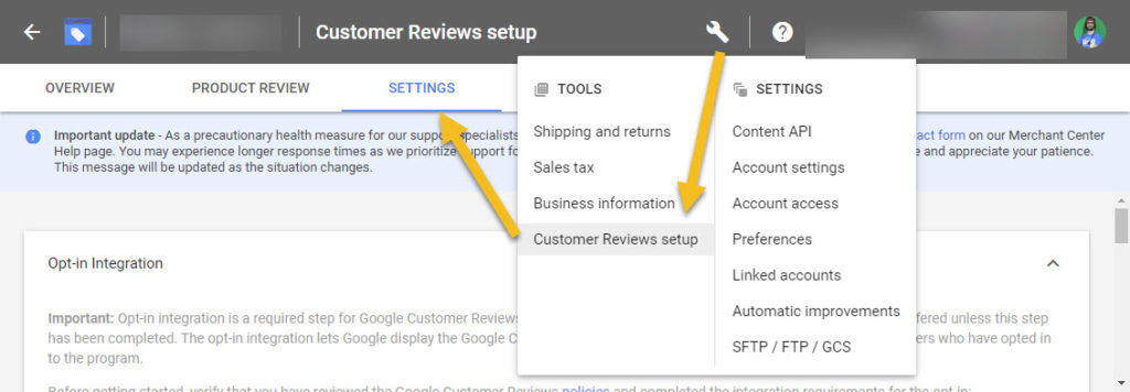 Google Merchant Center Customer Review Setup