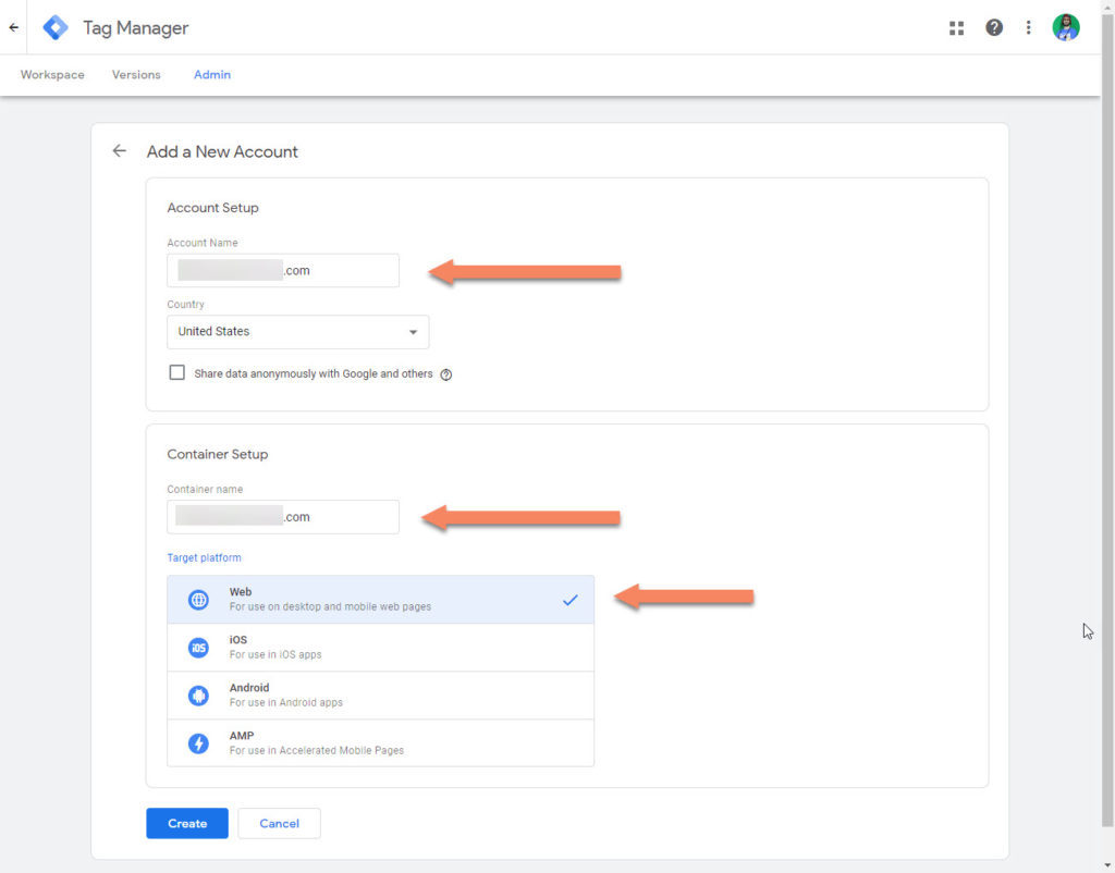 Tag Manager Create Account Step 2