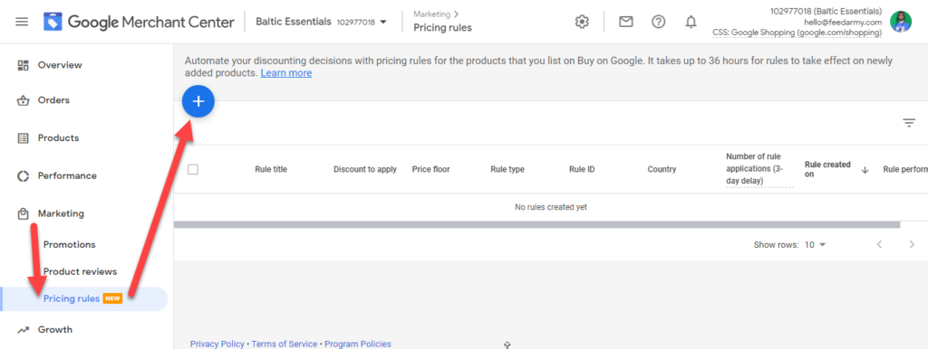Google Merchant Center Add Pricing Rules