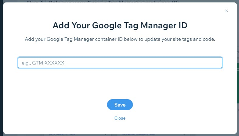 Enter Tag Manager ID In Wix