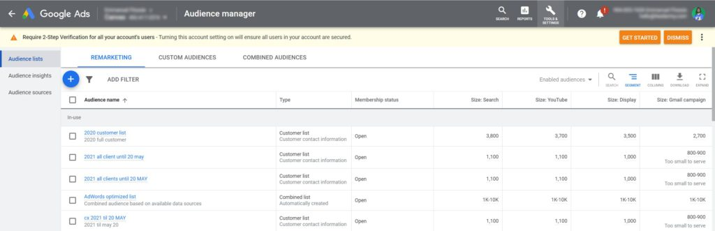 Google Ads Audience Manager Customer Lists
