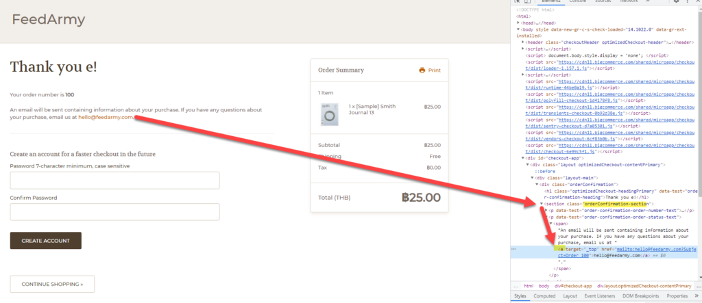 Bigcommerce Thank You Page CSS Selector